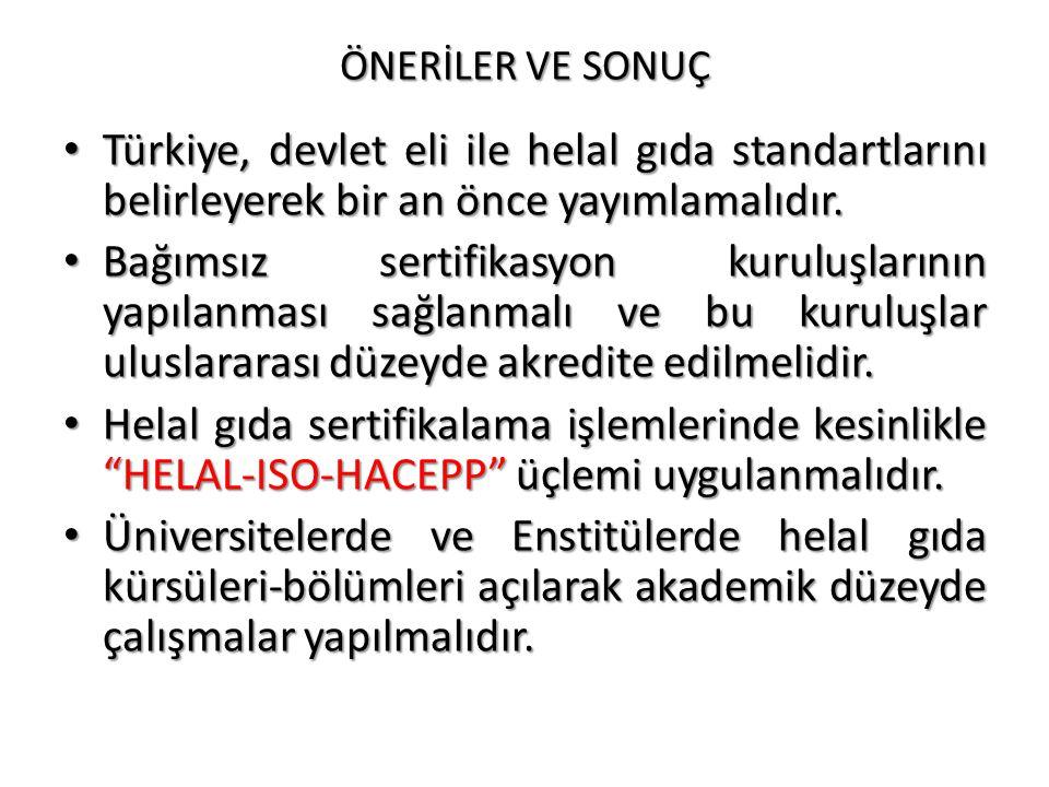 ÖNERİLER VE SONUÇ Türkiye, devlet eli ile helal gıda standartlarını belirleyerek bir an önce yayımlamalıdır.