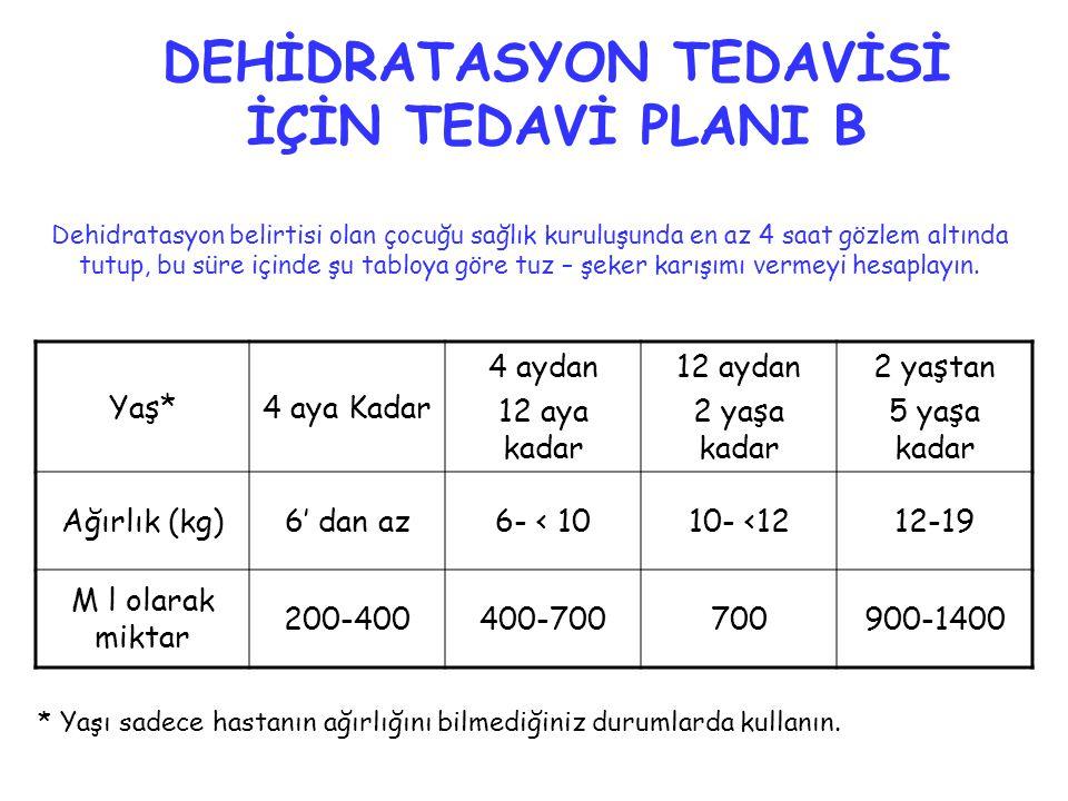 DEHİDRATASYON TEDAVİSİ İÇİN TEDAVİ PLANI B