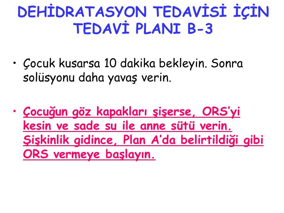 DEHİDRATASYON TEDAVİSİ İÇİN TEDAVİ PLANI B-3