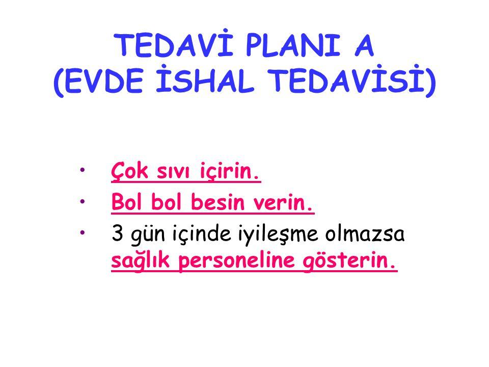 TEDAVİ PLANI A (EVDE İSHAL TEDAVİSİ)
