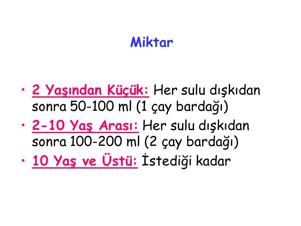 Miktar 2 Yaşından Küçük: Her sulu dışkıdan sonra 50-100 ml (1 çay bardağı) 2-10 Yaş Arası: Her sulu dışkıdan sonra 100-200 ml (2 çay bardağı)