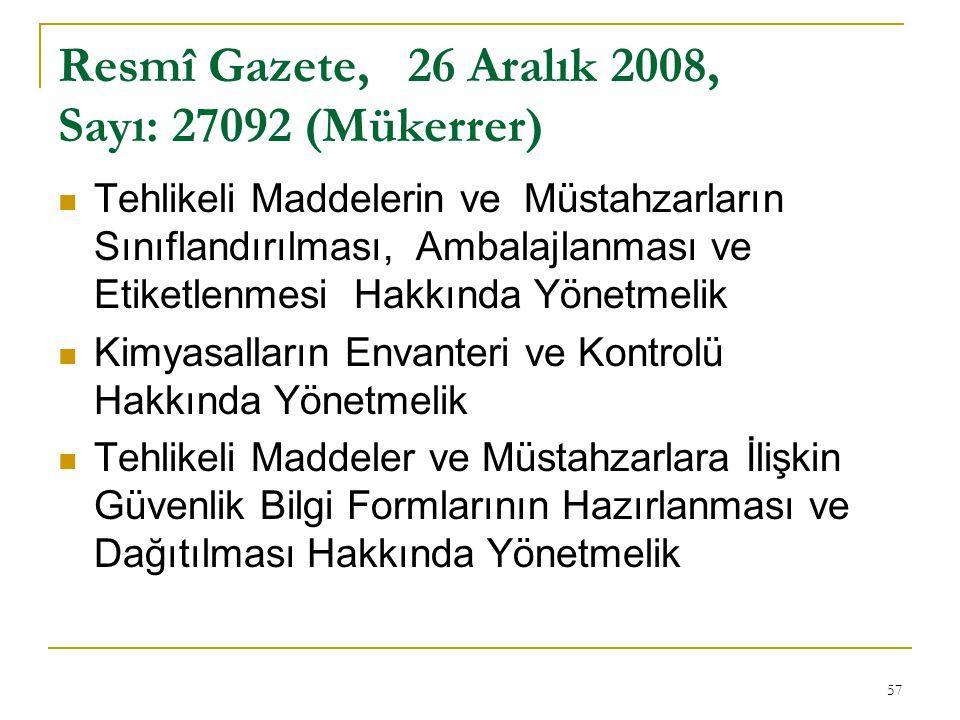 Resmî Gazete, 26 Aralık 2008, Sayı: 27092 (Mükerrer)