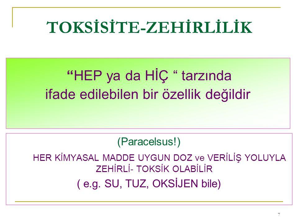 TOKSİSİTE-ZEHİRLİLİK