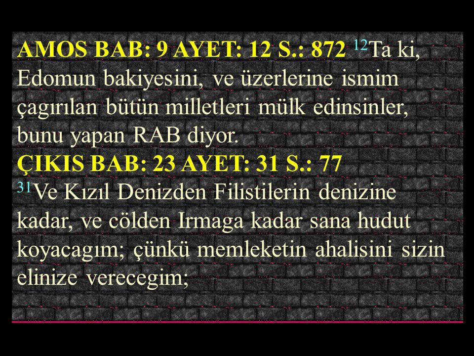 AMOS BAB: 9 AYET: 12 S.: 872 12Ta ki, Edomun bakiyesini, ve üzerlerine ismim çagırılan bütün milletleri mülk edinsinler, bunu yapan RAB diyor.