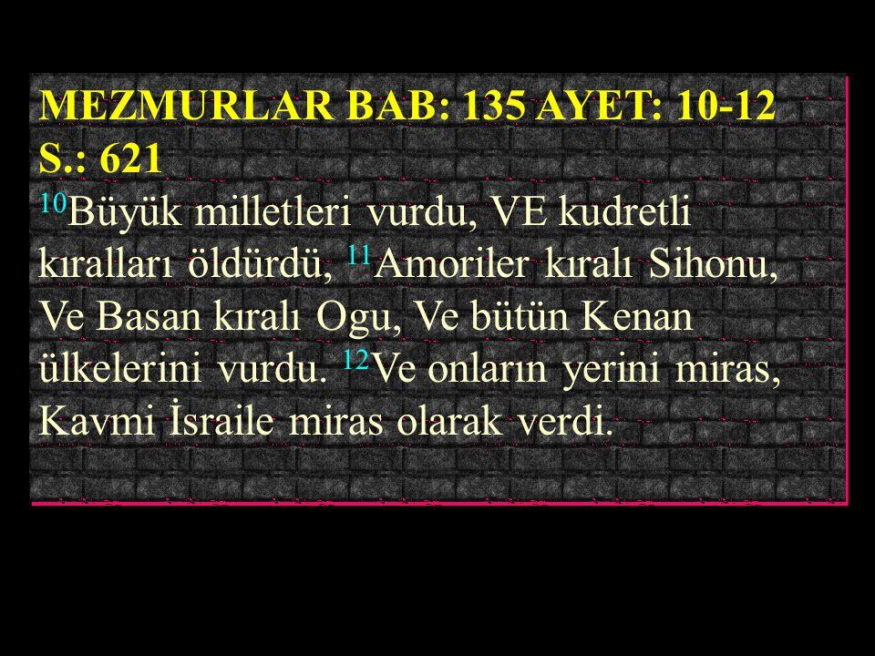 MEZMURLAR BAB: 135 AYET: 10-12 S.: 621