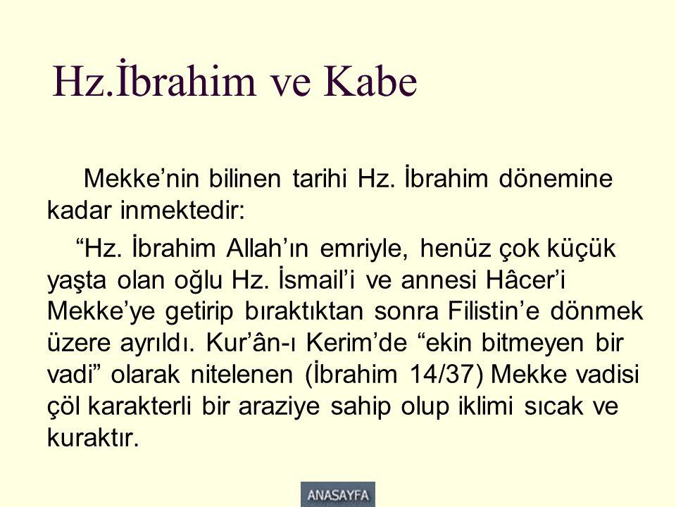 Hz.İbrahim ve Kabe Mekke'nin bilinen tarihi Hz. İbrahim dönemine kadar inmektedir: