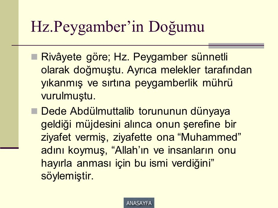 Hz.Peygamber'in Doğumu
