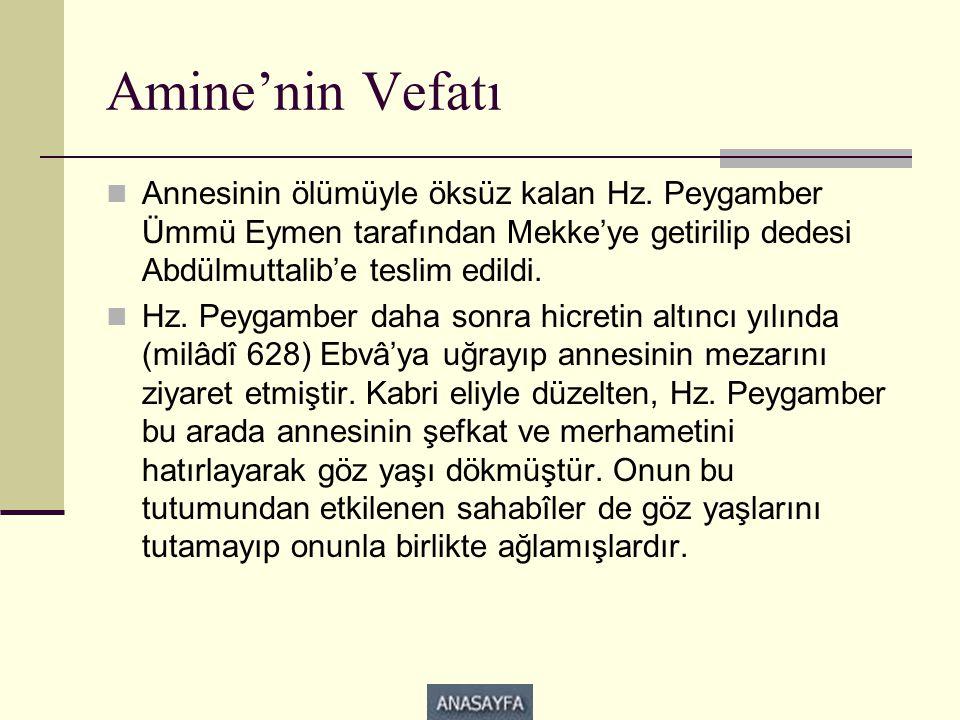 Amine'nin Vefatı Annesinin ölümüyle öksüz kalan Hz. Peygamber Ümmü Eymen tarafından Mekke'ye getirilip dedesi Abdülmuttalib'e teslim edildi.