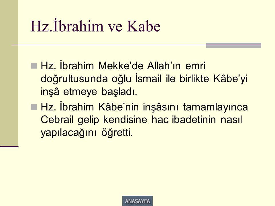 Hz.İbrahim ve Kabe Hz. İbrahim Mekke'de Allah'ın emri doğrultusunda oğlu İsmail ile birlikte Kâbe'yi inşâ etmeye başladı.