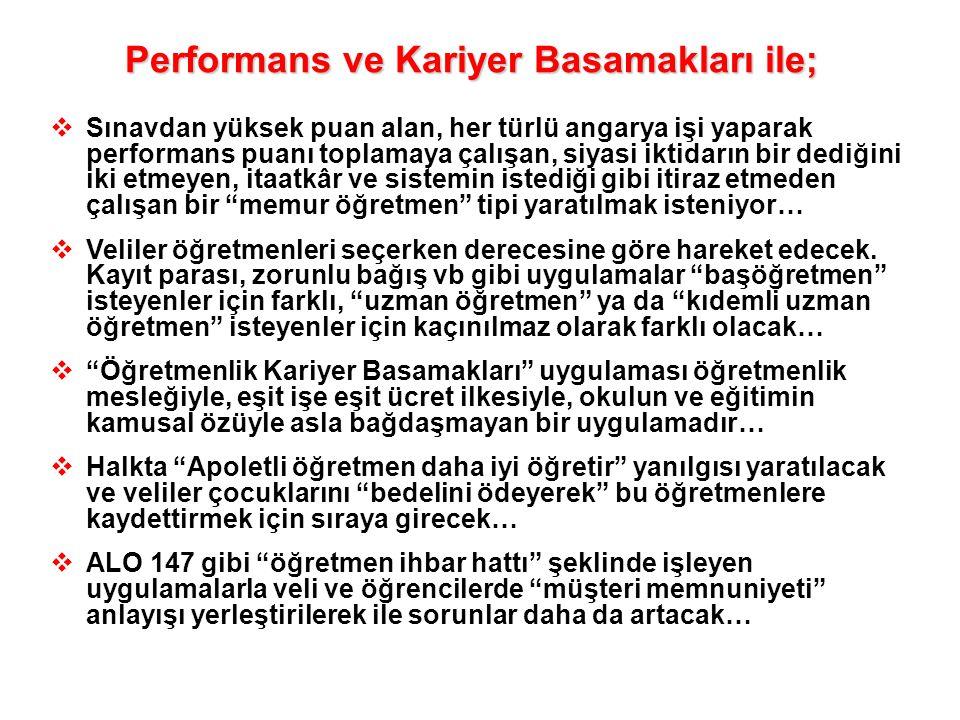 Performans ve Kariyer Basamakları ile;