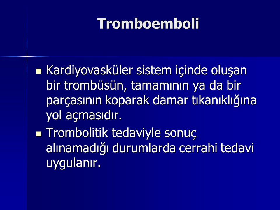 Tromboemboli Kardiyovasküler sistem içinde oluşan bir trombüsün, tamamının ya da bir parçasının koparak damar tıkanıklığına yol açmasıdır.