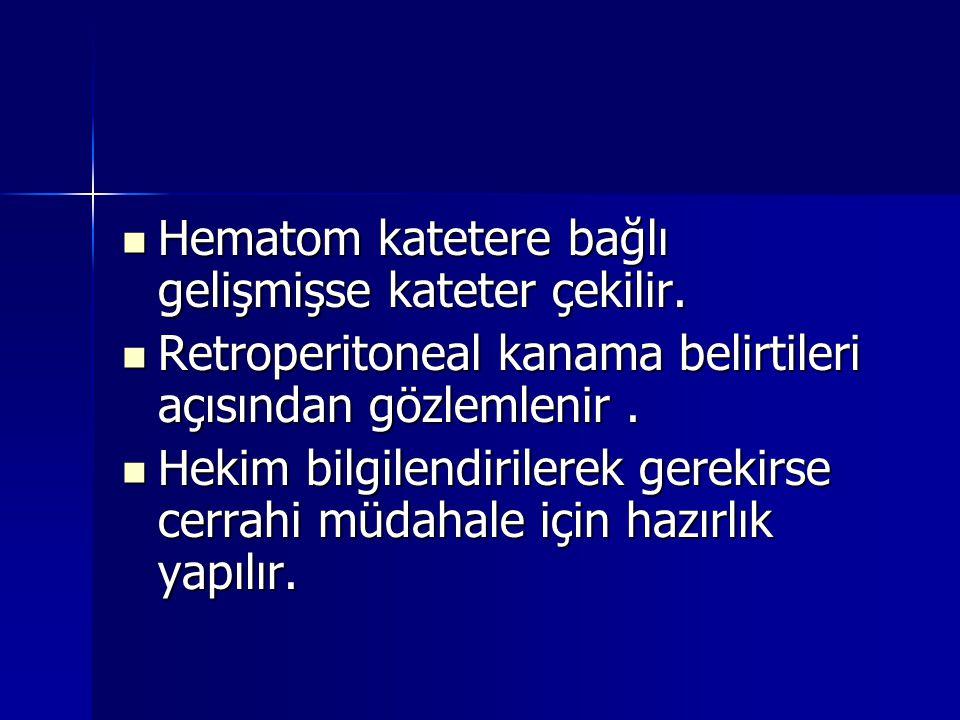 Hematom katetere bağlı gelişmişse kateter çekilir.