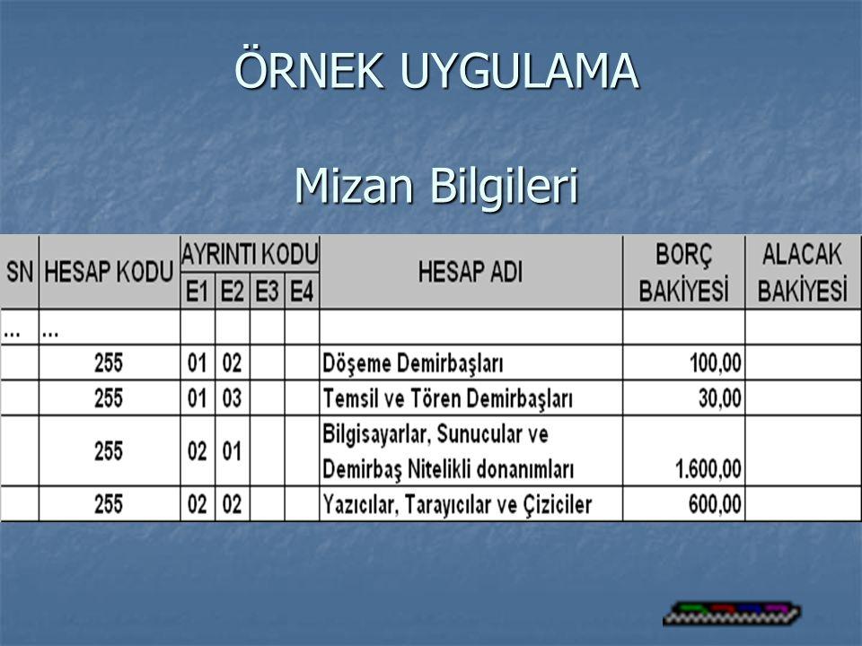 ÖRNEK UYGULAMA Mizan Bilgileri