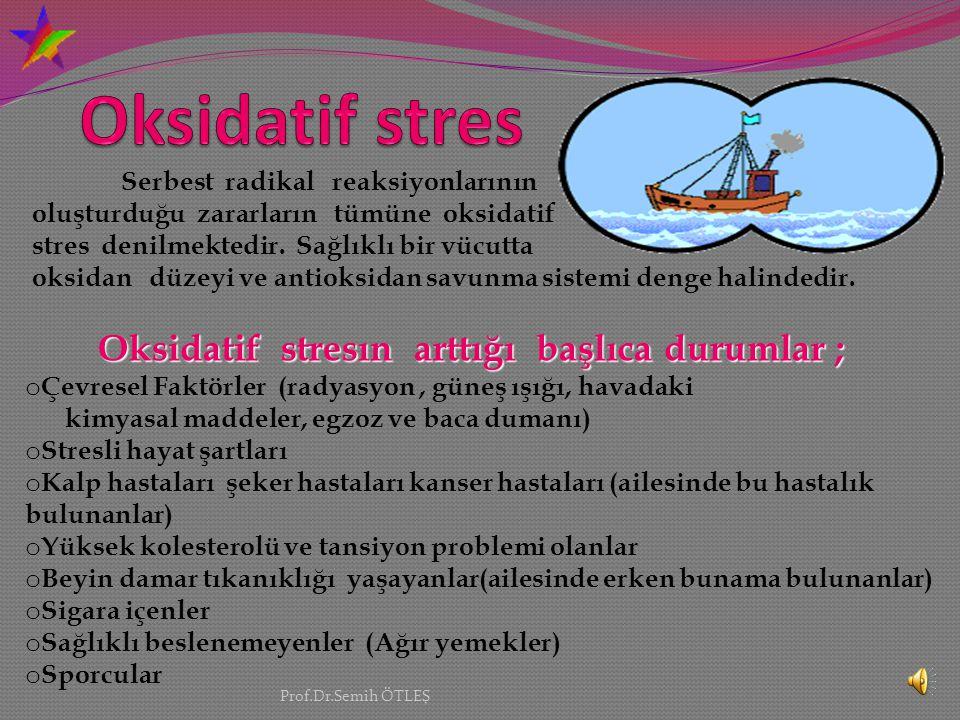Oksidatif stres Serbest radikal reaksiyonlarının