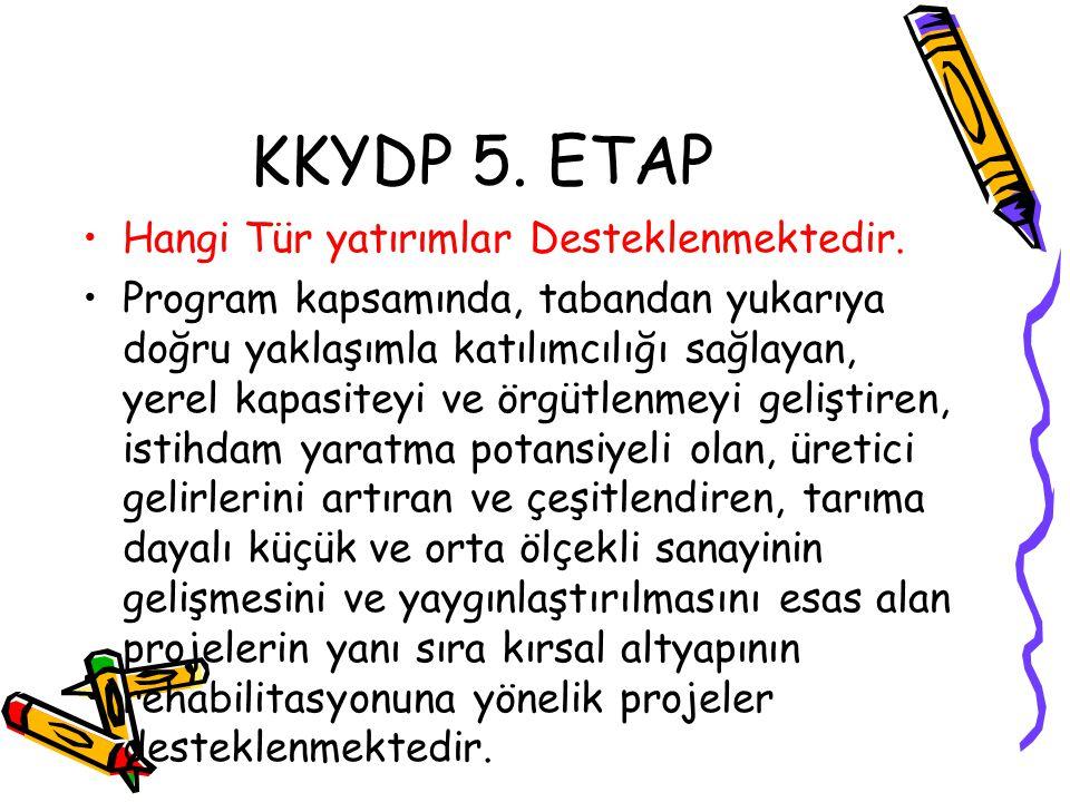 KKYDP 5. ETAP Hangi Tür yatırımlar Desteklenmektedir.