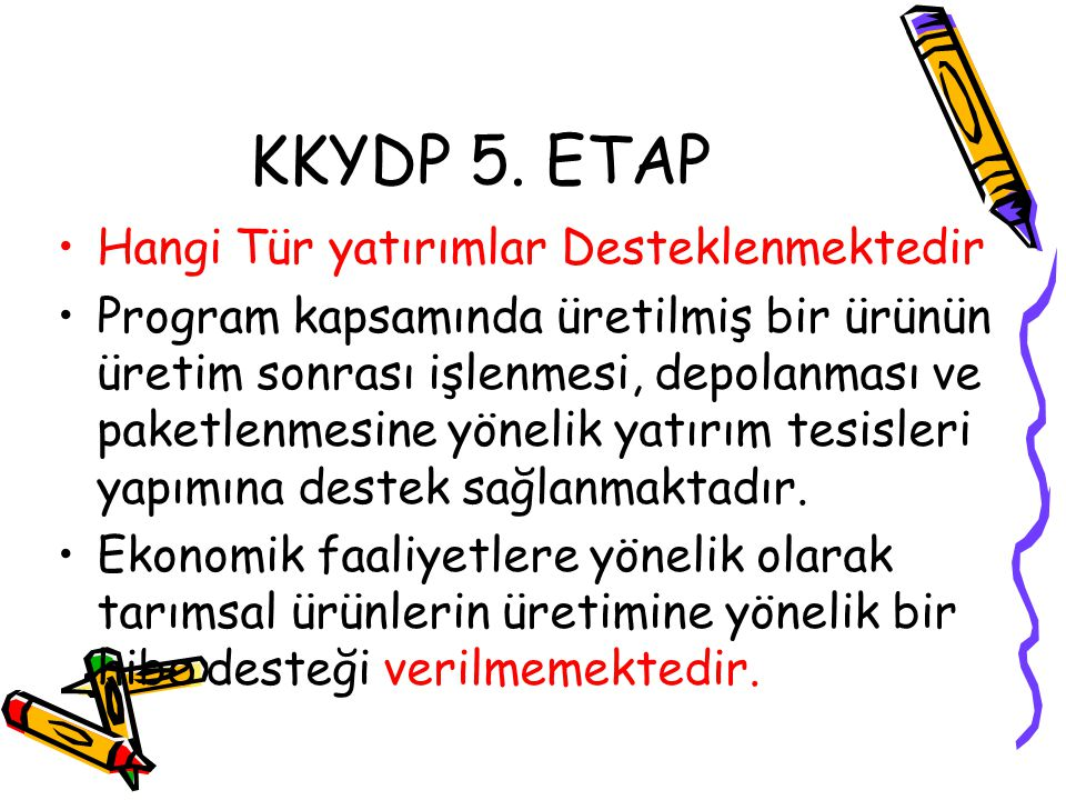 KKYDP 5. ETAP Hangi Tür yatırımlar Desteklenmektedir