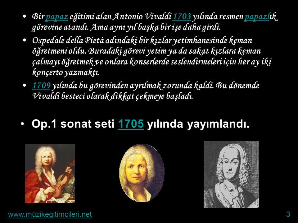 Op.1 sonat seti 1705 yılında yayımlandı.