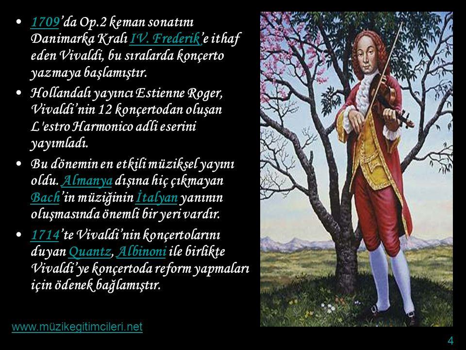 1709'da Op. 2 keman sonatını Danimarka Kralı IV