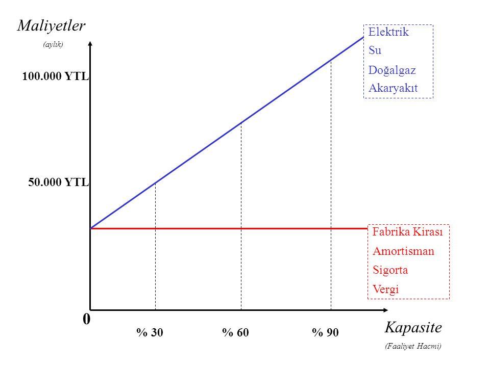 Maliyetler Kapasite Elektrik Su Doğalgaz Akaryakıt 100.000 YTL