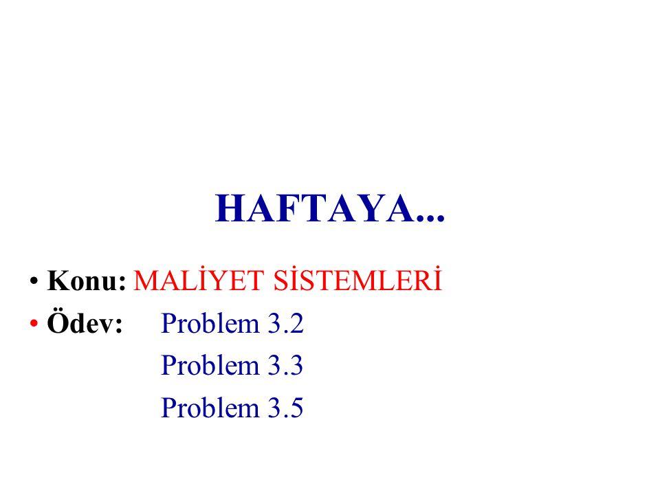 Konu: MALİYET SİSTEMLERİ Ödev: Problem 3.2 Problem 3.3 Problem 3.5