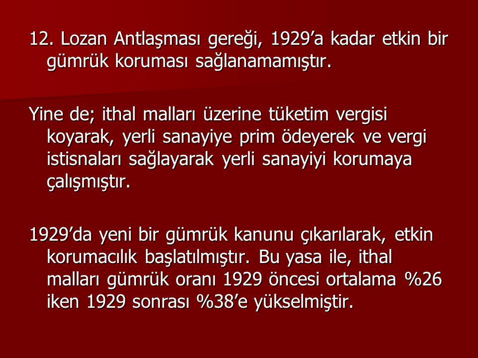 12. Lozan Antlaşması gereği, 1929'a kadar etkin bir gümrük koruması sağlanamamıştır.