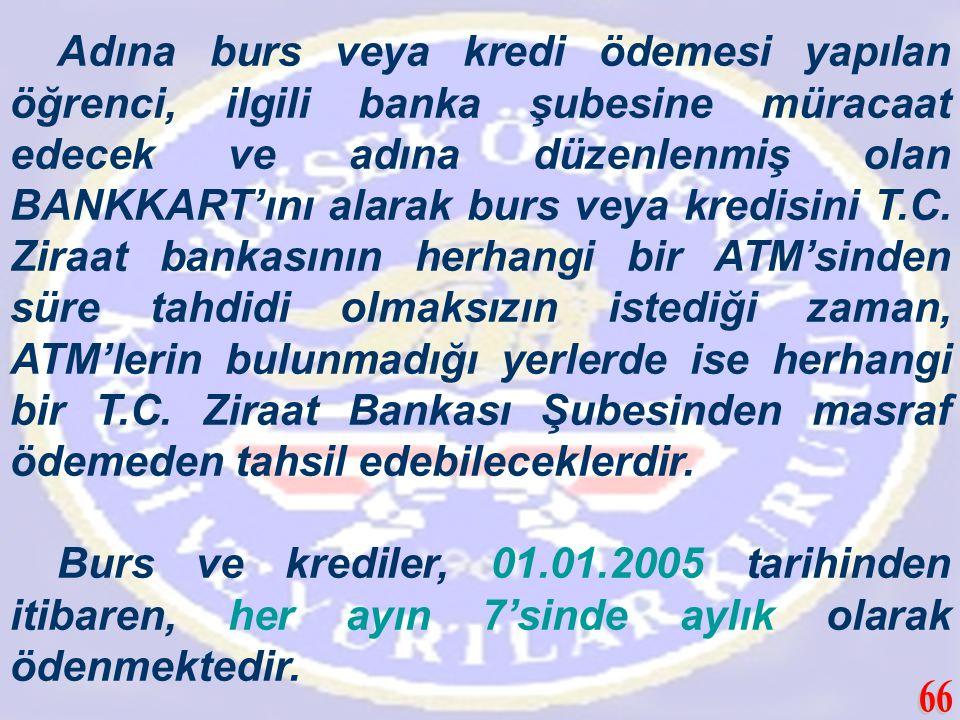 Adına burs veya kredi ödemesi yapılan öğrenci, ilgili banka şubesine müracaat edecek ve adına düzenlenmiş olan BANKKART'ını alarak burs veya kredisini T.C. Ziraat bankasının herhangi bir ATM'sinden süre tahdidi olmaksızın istediği zaman, ATM'lerin bulunmadığı yerlerde ise herhangi bir T.C. Ziraat Bankası Şubesinden masraf ödemeden tahsil edebileceklerdir.