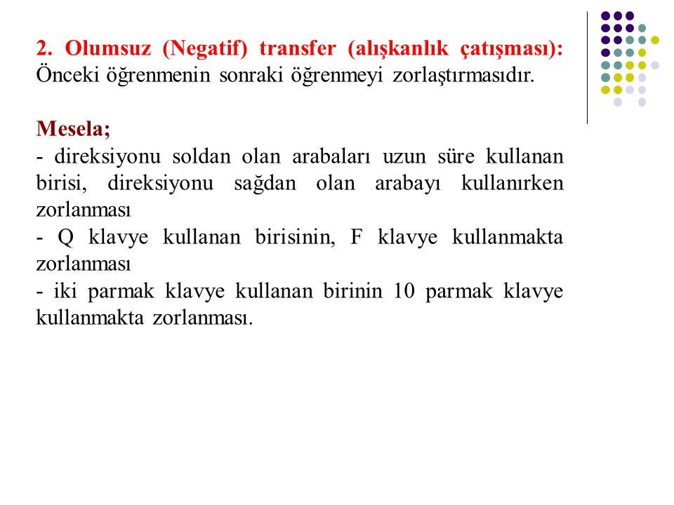 2. Olumsuz (Negatif) transfer (alışkanlık çatışması): Önceki öğrenmenin sonraki öğrenmeyi zorlaştırmasıdır.