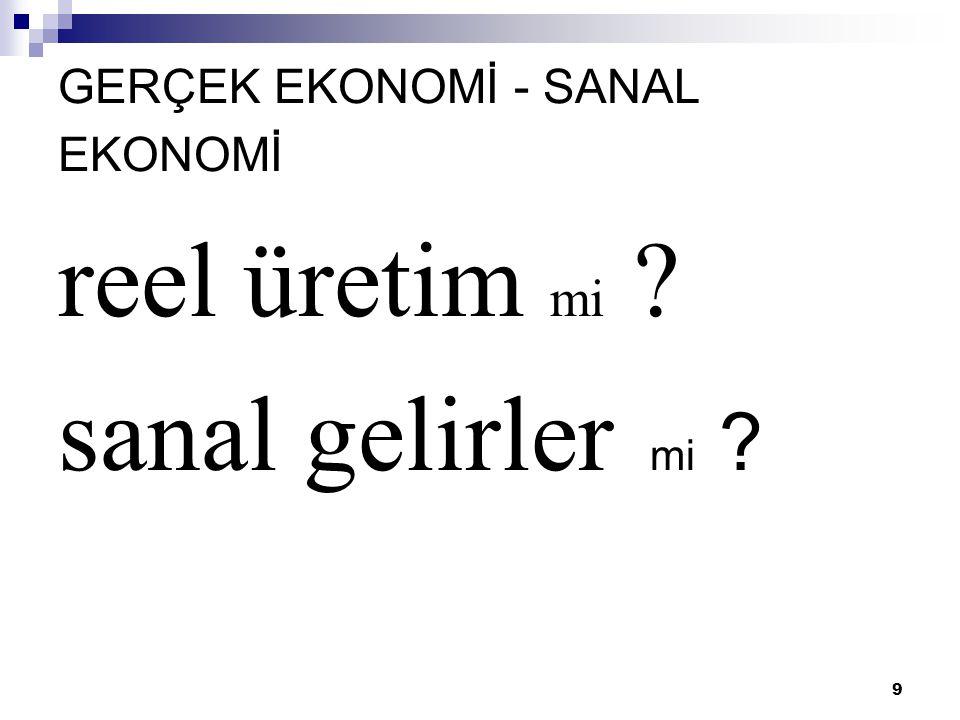GERÇEK EKONOMİ - SANAL EKONOMİ
