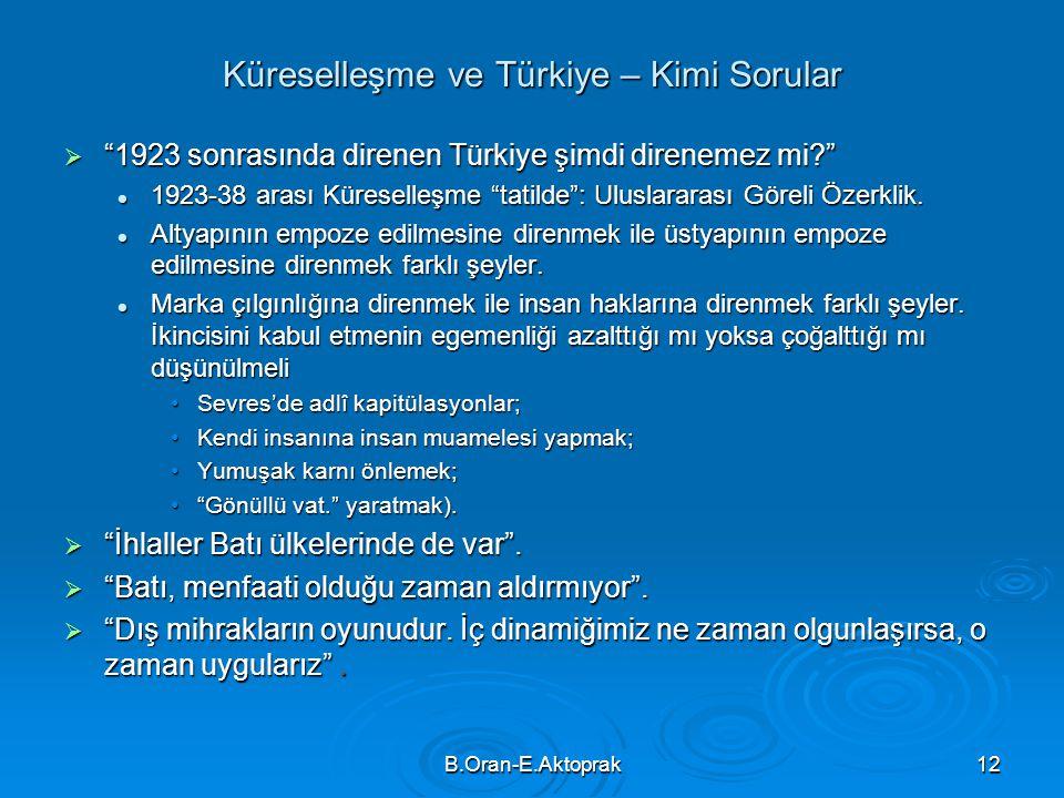 Küreselleşme ve Türkiye – Kimi Sorular