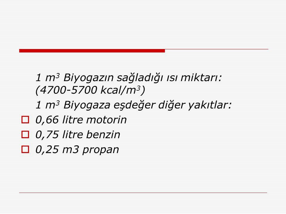1 m3 Biyogazın sağladığı ısı miktarı: (4700-5700 kcal/m3)