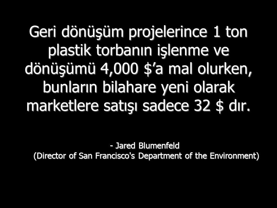 Geri dönüşüm projelerince 1 ton plastik torbanın işlenme ve dönüşümü 4,000 $'a mal olurken, bunların bilahare yeni olarak marketlere satışı sadece 32 $ dır.