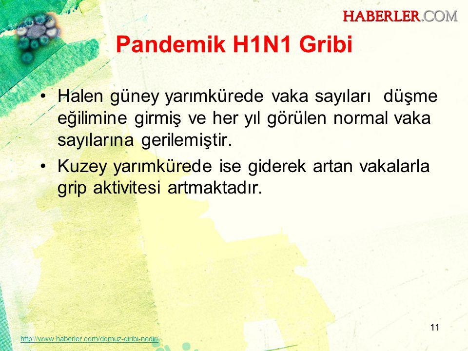 Pandemik H1N1 Gribi Halen güney yarımkürede vaka sayıları düşme eğilimine girmiş ve her yıl görülen normal vaka sayılarına gerilemiştir.