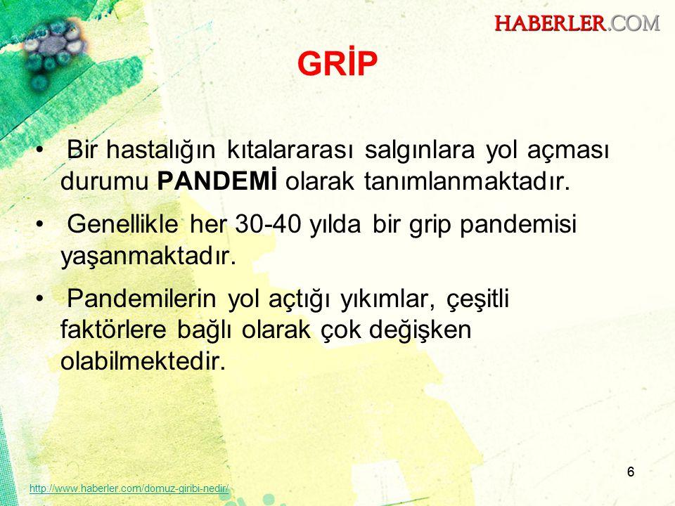 GRİP Bir hastalığın kıtalararası salgınlara yol açması durumu PANDEMİ olarak tanımlanmaktadır.