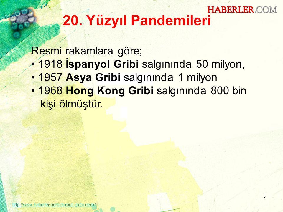 20. Yüzyıl Pandemileri Resmi rakamlara göre;