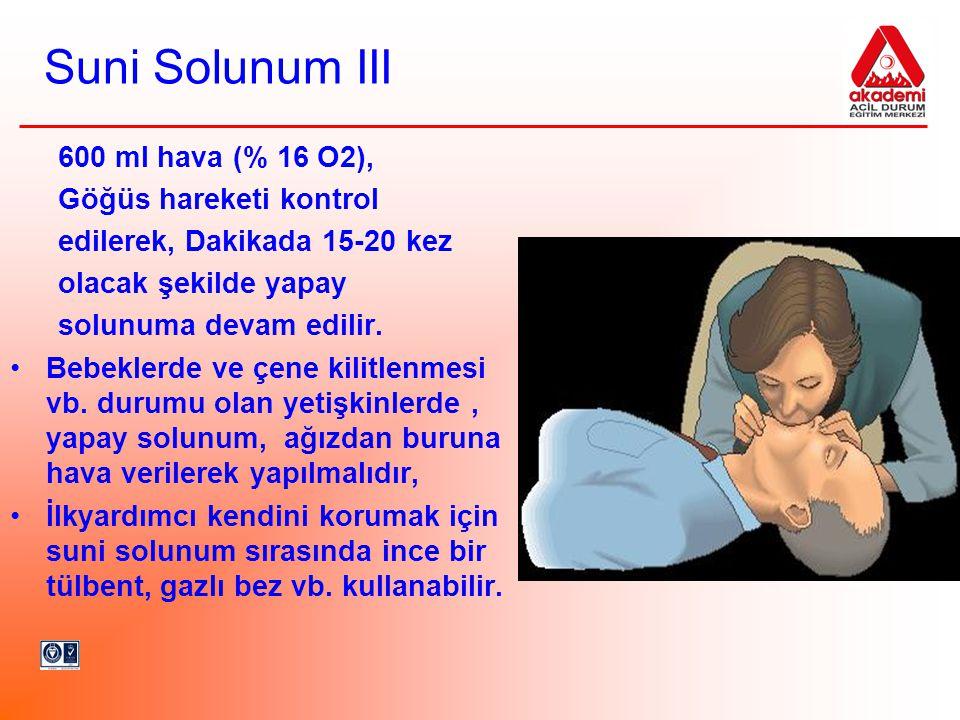 Suni Solunum III 600 ml hava (% 16 O2), Göğüs hareketi kontrol
