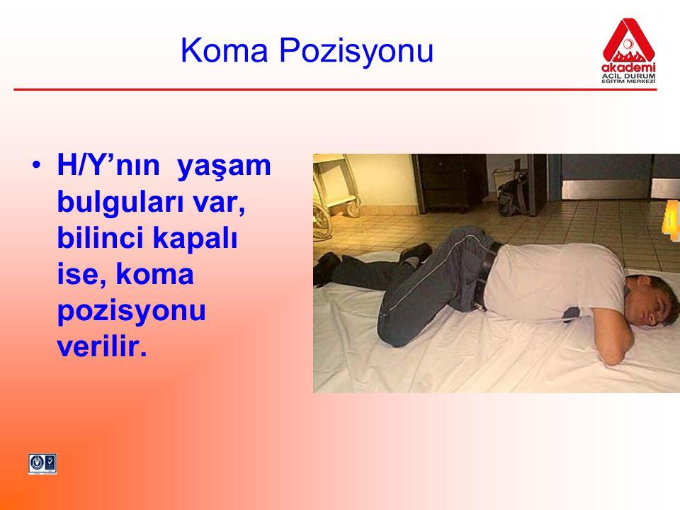 Koma Pozisyonu H/Y'nın yaşam bulguları var, bilinci kapalı ise, koma pozisyonu verilir.