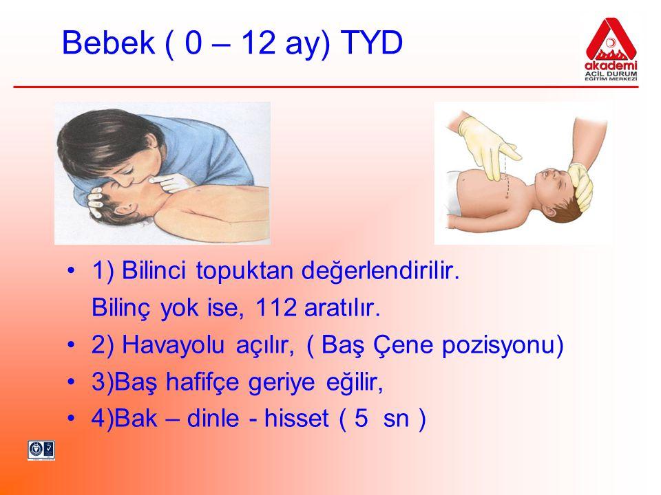 Bebek ( 0 – 12 ay) TYD 1) Bilinci topuktan değerlendirilir.