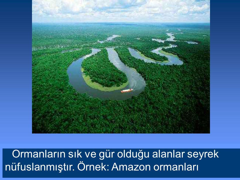 Ormanların sık ve gür olduğu alanlar seyrek nüfuslanmıştır