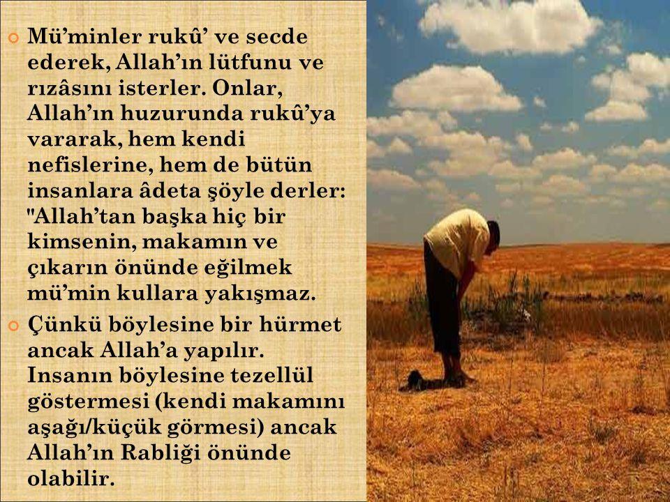 Mü'minler rukû' ve secde ederek, Allah'ın lütfunu ve rızâsını isterler
