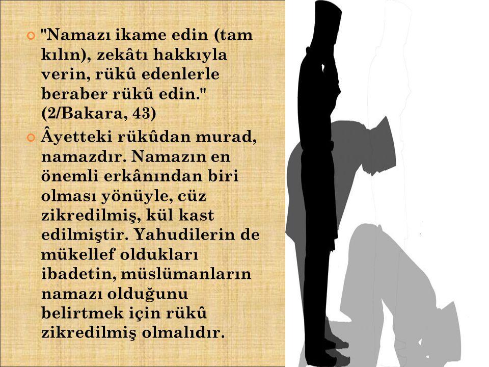 Namazı ikame edin (tam kılın), zekâtı hakkıyla verin, rükû edenlerle beraber rükû edin. (2/Bakara, 43)