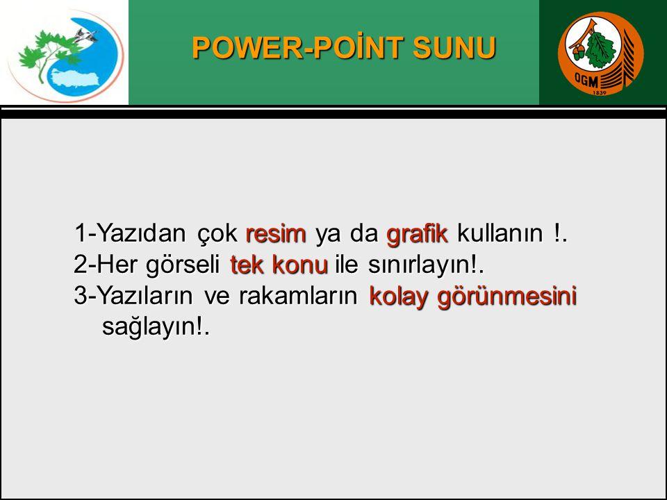 POWER-POİNT SUNU 2-Her görseli tek konu ile sınırlayın!.
