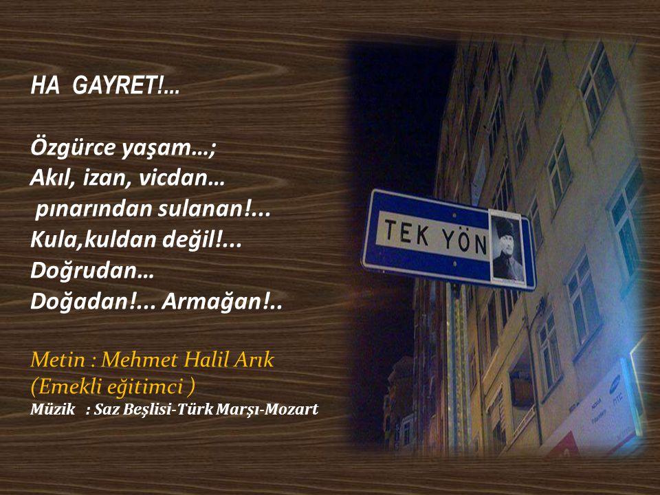 HA GAYRET!... Özgürce yaşam…; Akıl, izan, vicdan…