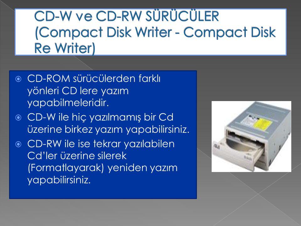 CD-W ve CD-RW SÜRÜCÜLER (Compact Disk Writer - Compact Disk Re Writer)
