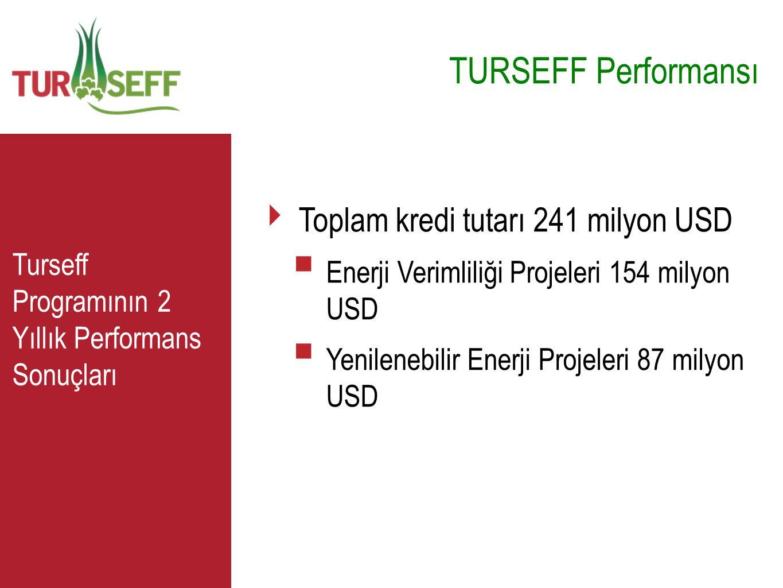 TURSEFF Performansı C Toplam kredi tutarı 241 milyon USD