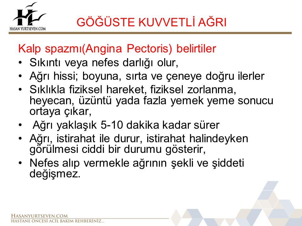 Kalp spazmı(Angina Pectoris) belirtiler