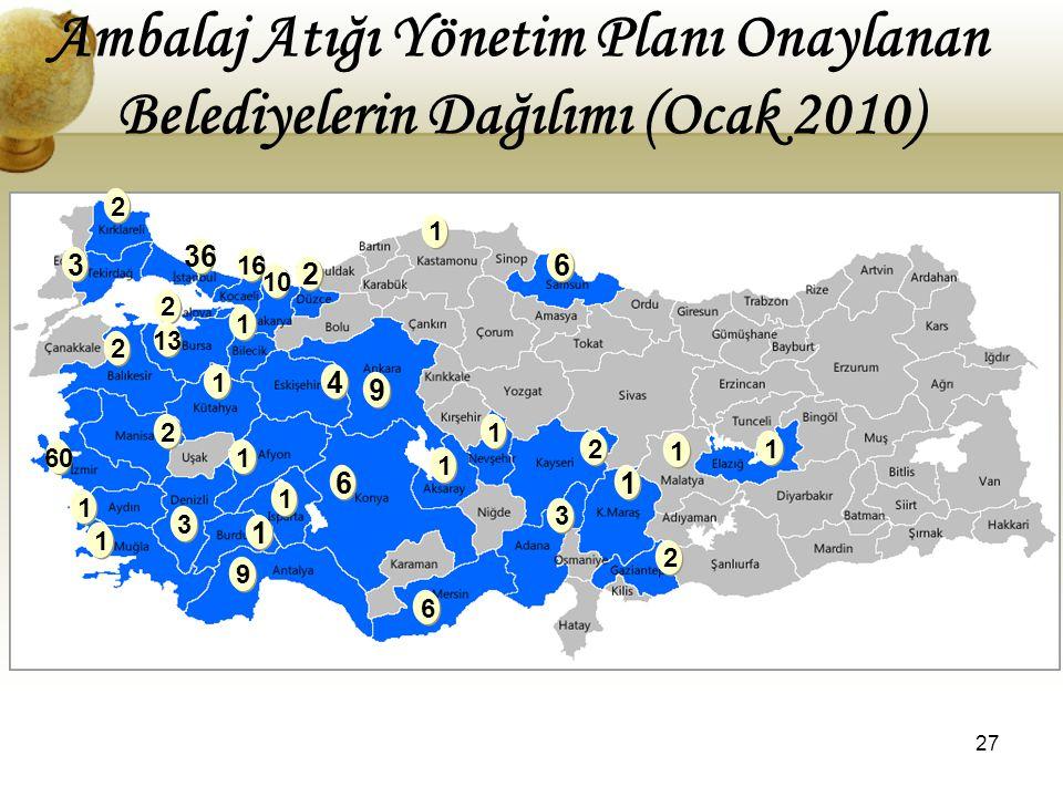 Ambalaj Atığı Yönetim Planı Onaylanan Belediyelerin Dağılımı (Ocak 2010)