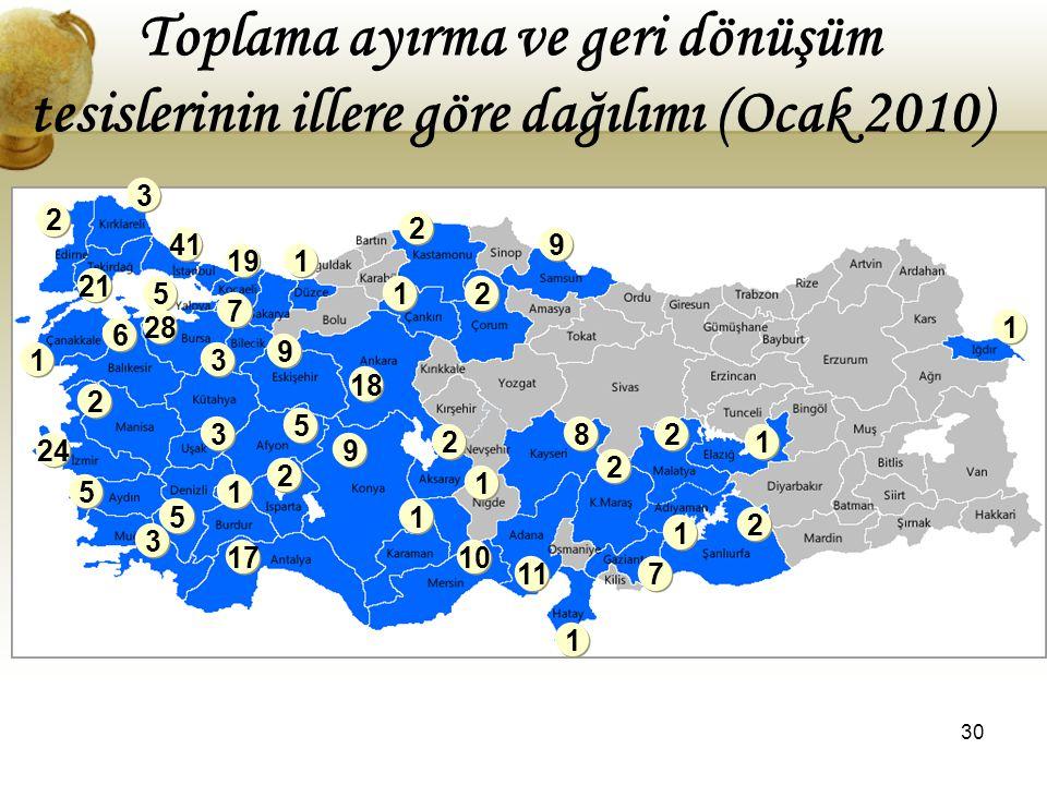 Toplama ayırma ve geri dönüşüm tesislerinin illere göre dağılımı (Ocak 2010)