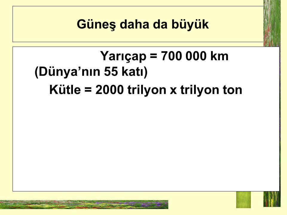 Kütle = 2000 trilyon x trilyon ton