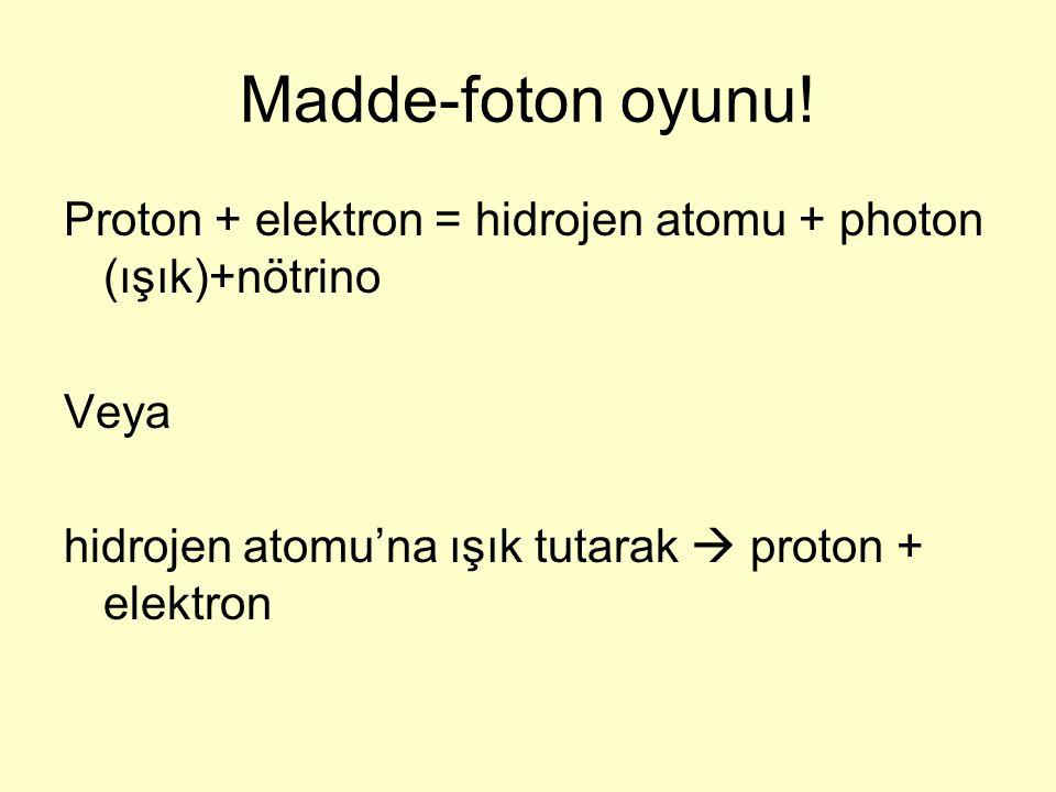 Madde-foton oyunu. Proton + elektron = hidrojen atomu + photon (ışık)+nötrino.
