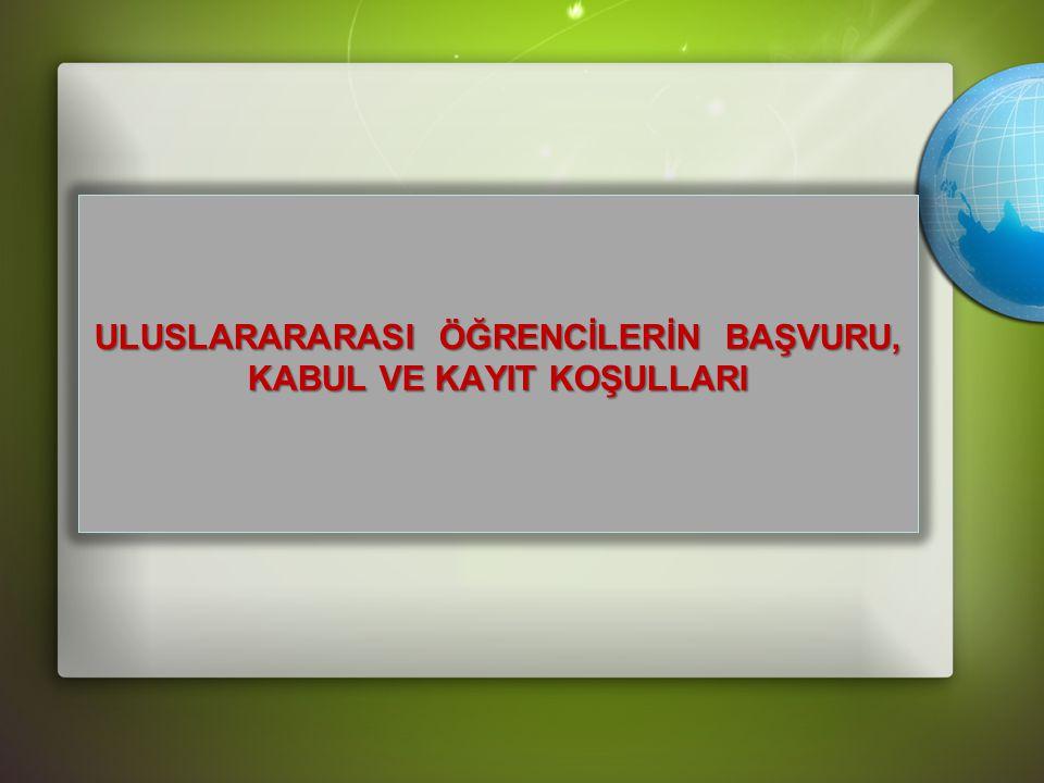 ULUSLARARARASI ÖĞRENCİLERİN BAŞVURU, KABUL VE KAYIT KOŞULLARI